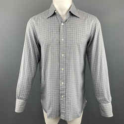 Tom Ford Size M Plaid Grey Cotton Button Up Long Sleeve Shirt
