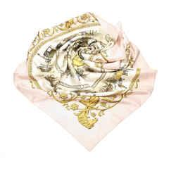 Vintage Authentic Hermes Gray La Promenade de Longchamps Silk Scarf France