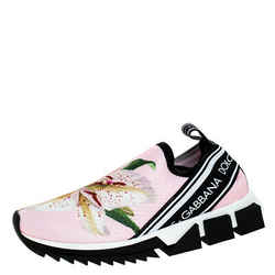 Dolce & Gabbana Pink Floral Stretch Fabric Sorrento Slip-On Sneakers Size 36