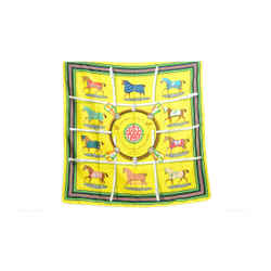 Authentic Hermes 100% Silk Scarf Couvertures et Tenues de Jour Horses Yellow 90cm Carre