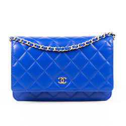 Chanel Bag Wallet on Chain Blue Quilted Lambskin CC Crossbody