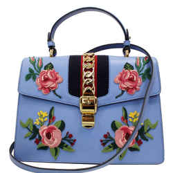 Gucci Sylvie Embroidered Leather Medium Top Handle Bag Blue 431665