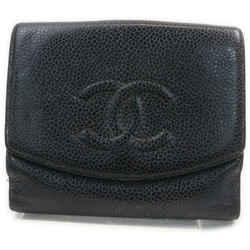Chanel Black Caviar Leather CC Logo Coin Purse Compact Wallet 862298