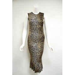 Dolce & Gabanna Black/Brown/White Animal Print Viscose Sleeveless Dress Sz 6 Italy