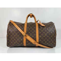 Louis Vuitton Monogram Keepall Bandoliere 55 Top Handle Travel Duffle Bag