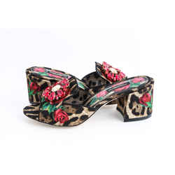 Dolce & Gabbana Crystal-embellished Leopard And Floral-print Canvas Mules In Leopard Print