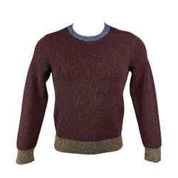 Valentino Size Xs Burgundy & Black Heather Viscose Blend Crew-neck Sweater