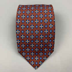 BALENCIAGA Burgundy & Blue Floral Silk Tie