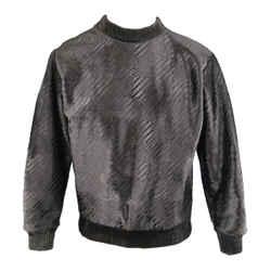 Calvin Klein Collection Size 38 Black Embossed Ponyhair Crewneck Pullover