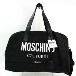 Moschino Logo A90028201 Unisex Leather,nylon Canvas Boston Bag Black,wh Bf513837