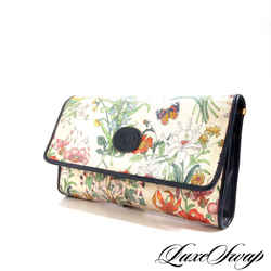 Vintage 80s Gucci Canvas Leather Trim Flora Clutch Bag