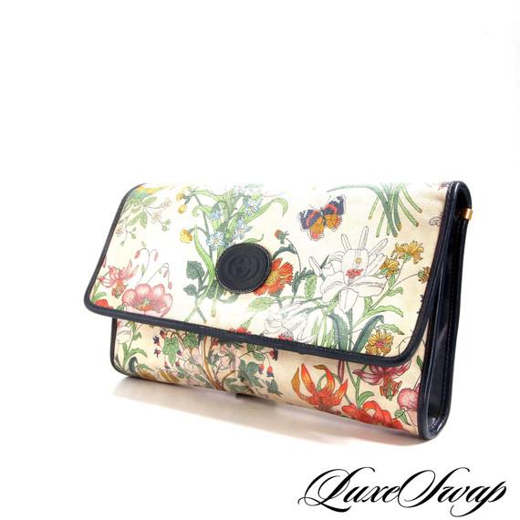 Vintage 80s Gucci Canvas Leather Trim Flora Clutch Bag