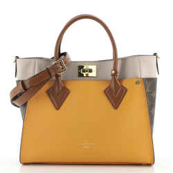 On My Side Tote Leather with Monogram Canvas