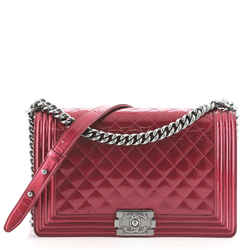 Boy Flap Bag Quilted Patent New Medium