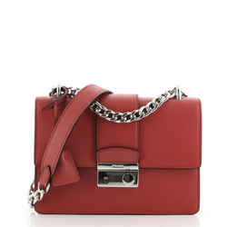 Sound Chain Shoulder Bag Saffiano Leather Small