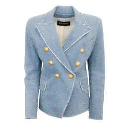 Balmain Light Blue Distressed Denim Jacket