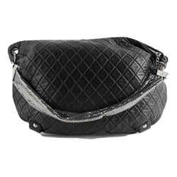 Chanel Hobo Limited Edition Jumbo Mesh Chain Quilted Black Lambskin Leather Satchel