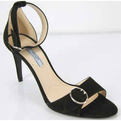 Prada Black Suede Ankle Strap Sandals Size 39.5 High Heel New Circle Buckle $750