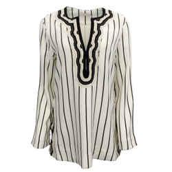 Tory Burch New Ivory / Black Filipa Slub Stripe Tunic