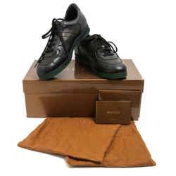 Gucci Blackout Leather Race Stripe Heel Sneakers