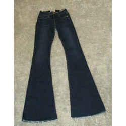 Frame Dark Blue Le High Flare Denim Jeans With Frayed Hem - Size 24