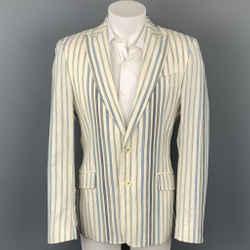 JUST CAVALLI Size 40 Cream & Blue Stripe Cotton Blend Peak Lapel Sport Coat