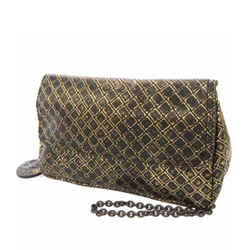 Vintage Authentic Bottega Veneta Intrecciomirage Chain Metallic Leather Crossbody Bag