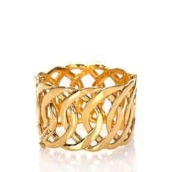 Vintage Authentic Chanel Gold  Metal Gold-Tone CC Bangle France