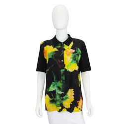 Yellow Floral-Print Silk Blouse