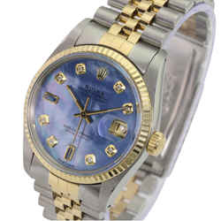Rolex Mens Datejust Blue Mop Diamond/sapphire Dial Fluted Bezel-quickset