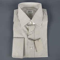 New Brioni Size M White & Brown Striped Cotton Long Sleeve Shirt