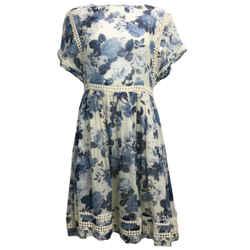 ZIMMERMANN Blue & Ivory Floral Print Silk Short Casual Dress