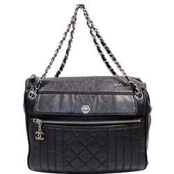 Chanel Calfskin Perforated 50's Bag Black