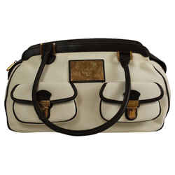Chopard Ivory Fabric Black / Beige Leather Tote