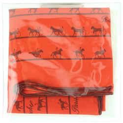 Hermes Red Silk Horse Logo Scarf 683her318