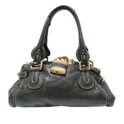 Vintage Authentic Chloe Black Calf Leather Paddington Handbag France w/ Padlock