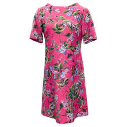 Escada Magenta Multi Floral Print Short Casual Dress