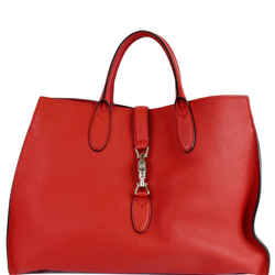 GUCCI Jackie Large Top Handle Leather Tote Bag Red 362970
