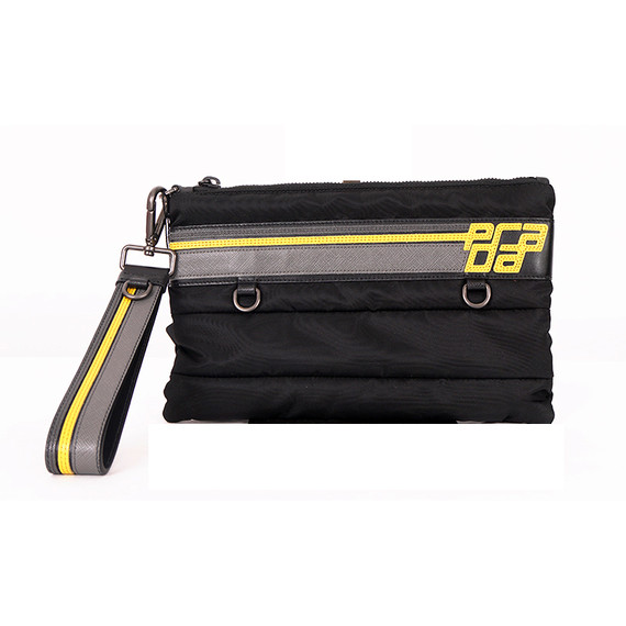 New $650 Prada Mens Black Bomber Yellow Saffiano Logo Wristlet Travel Sporty Bag