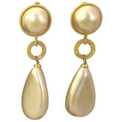 Chanel Faux Pearl Clip On Dangle Earrings