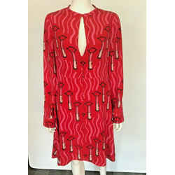 $5k Valentino Zandra Rhodes Red Pink Lipstick Print Silk Fit & Flare Dress 8/10