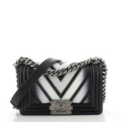 Boy Flap Bag Chevron Lizard with Leather Small