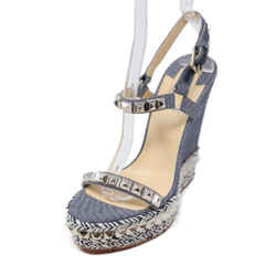 Christian Louboutin Blue Denim Silver Studded Heels Sz 38