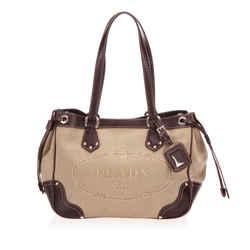 Vintage Authentic Prada Brown Beige Canvas Fabric Canapa Logo Shoulder Bag Italy
