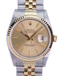 Rolex Mens datejust 16233 Champagne Dial Fluted Bezel 36mm Watch
