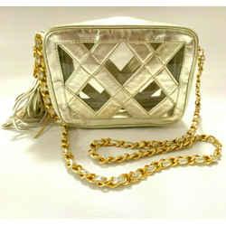 Vintage Chanel Gold Leather See-Through Shoulder Bag 1989