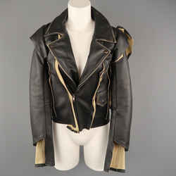 Maison Martin Margiela X H&m Size 2 Black & Beige Deconstructed Biker Jacket