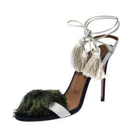 Aquazzura White Suede Johanna Ortiz Tassel Ankle Wrap Sandals Size 36.5