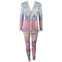 EMANUEL UNGARO Silk Printed Jersey Set w/ Buttons Size 4-6