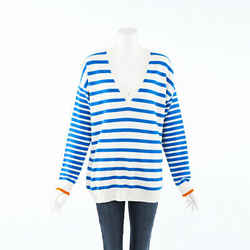 Chinti and Parker Striped Cashmere Knit Boat Sweater SZ L